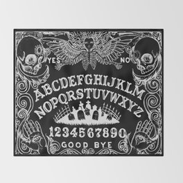 Ouija Board Black Throw Blanket
