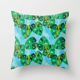 Elephant Leaf Green Blue Throw Pillow