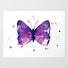 Butterfly Purple Watercolor Animal Art Print
