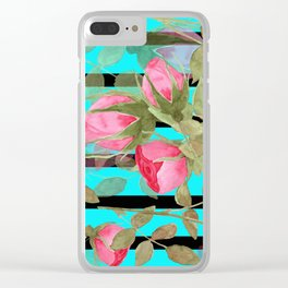 The buds of tender roses on a Turquoise background . Retro . Clear iPhone Case