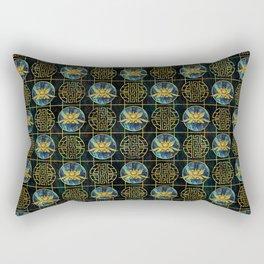 Luxury Chinese Golden Lotus on Abalone Rectangular Pillow