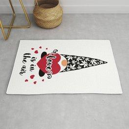 Valentine Gnome with heart and marijuana leaves Rug
