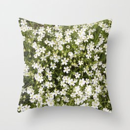 Stitchwort Stellaria Wild Flowers Throw Pillow