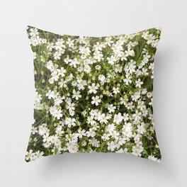 Stitchwort Stellaria Wild Flowers Throw Pillow