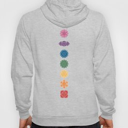 Seven Chakra Mandalas on a Striped Rainbow Color Background Hoody