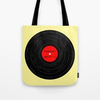 bruce springsteen Tote Bags featuring Born to Run- Bruce Springsteen Vinyl by MisfitIsle