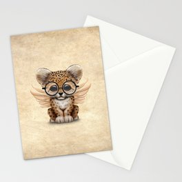 Cute Leopard Cub Fairy Wearing Glasses Stationery Cards
