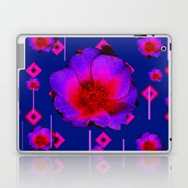 CONTEMPORARY RED-PURPLE BLUE  FLORAL ART Laptop & iPad Skin