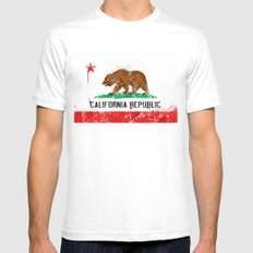California Flag White Mens Fitted Tee MEDIUM