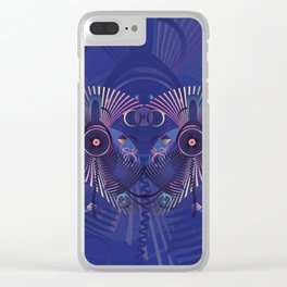 Stylized sound speaker with geometric elements Clear iPhone Case