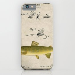 Vintage Brown Trout Fly Fishing Lure Patent Game Fish Identification Chart iPhone Case