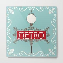 Vintage Paris Metro Sign Art Print Metal Print