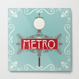 Vintage Paris Metro Sign Art Print Metal Print