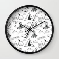 wanderlust Wall Clocks featuring Wanderlust by Tracie Andrews