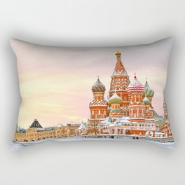 Snowy St. Basil's Cathedral Rectangular Pillow
