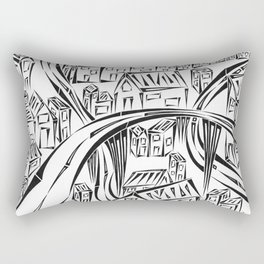 Town Circled By Roads Rectangular Pillow