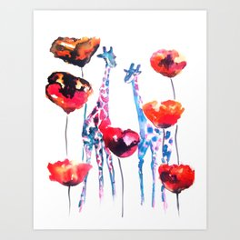 Giraffes and Poppies Art Print