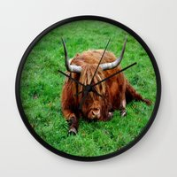 buffalo Wall Clocks featuring buffalo by  Agostino Lo Coco