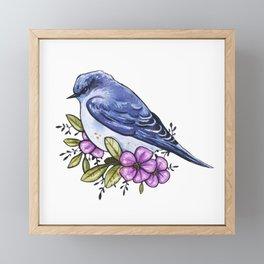 Grumpy blue bird with flowers Framed Mini Art Print