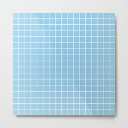 Light cornflower blue - heavenly color - White Lines Grid Pattern Metal Print