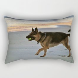 Dog Playing Fetch  Rectangular Pillow