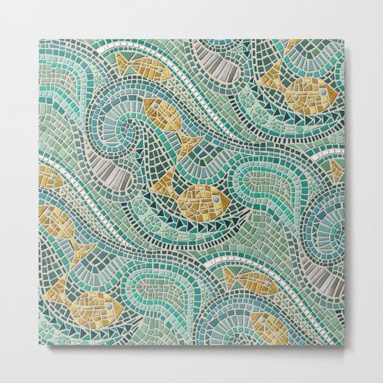 mosaic fish mint Metal Print
