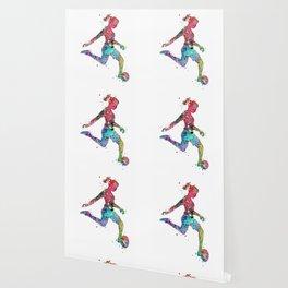 Girl Soccer Player Watercolor Sports Art Wallpaper