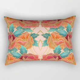 Pink Peonies Pattern with Gold Waves Rectangular Pillow