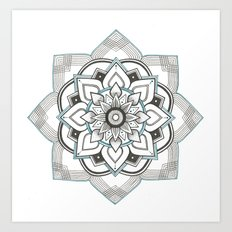 hand drawing geometric mandala with turquoise ink Art Print