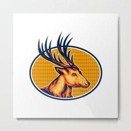 Deer Stag Buck Head Retro Metal Print