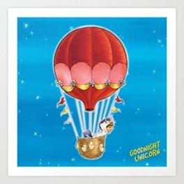 Goodnight Unicorn Balloon Kid Art Print