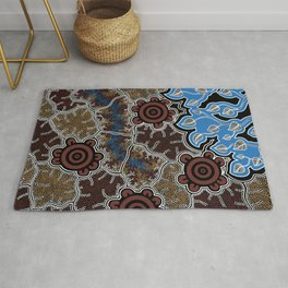 Water Lilly Dreaming - Authentic Aboriginal Art Rug
