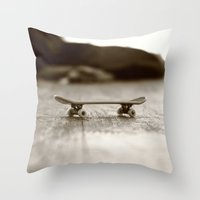 skateboard Throw Pillows featuring Finger Skateboard by Evi Radauscher