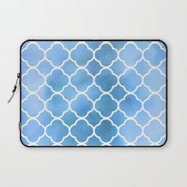 Quatrefoil Shape, Watercolors - Blue White Laptop Sleeve