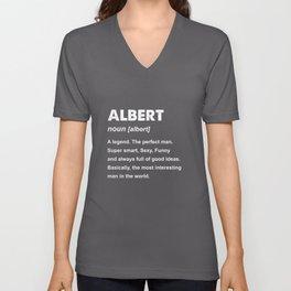 Mens Albert Name Gift design Unisex V-Neck