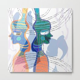 Girl Silhouette With Shapes VI Metal Print