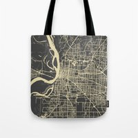 memphis Tote Bags featuring Memphis map by Map Map Maps