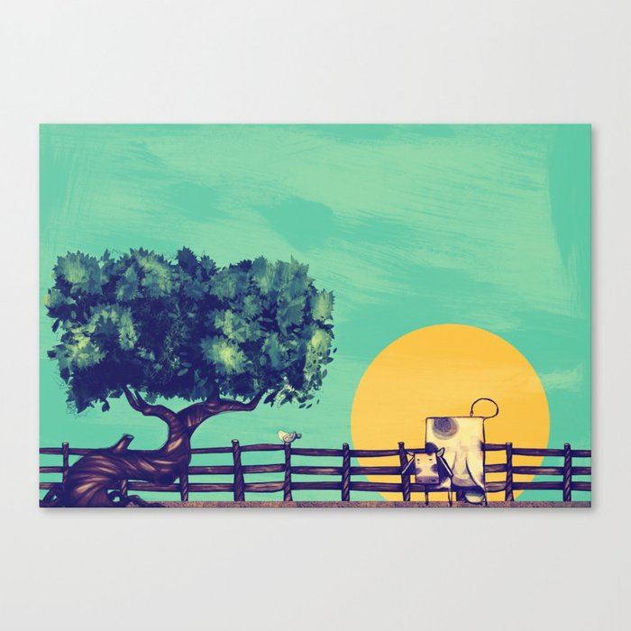 Cow Sunset Canvas Print