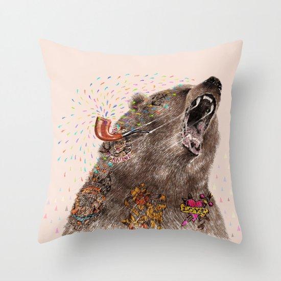 Angry Bear II Throw Pillow