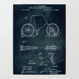 1896 - Snow shoe attachment for bicycles Poster