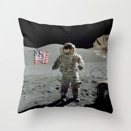 Apollo 17 - Last Man On The Moon Throw Pillow