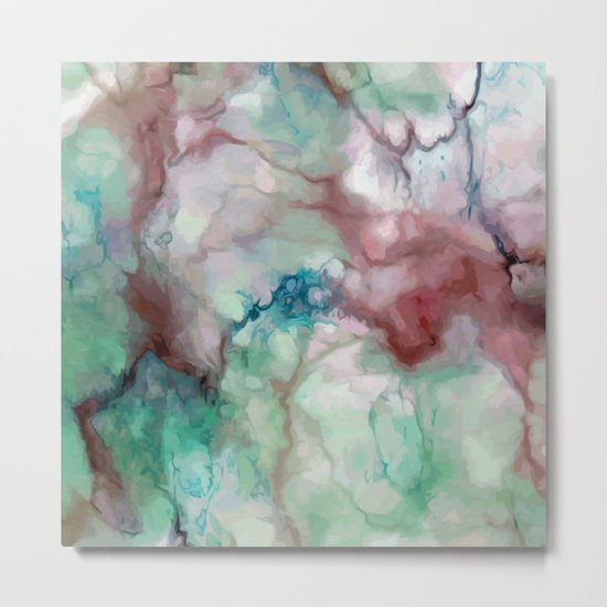 Colorful watercolor marble Metal Print