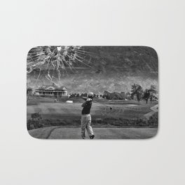 Broken Glass Sky - Black and White Version Bath Mat