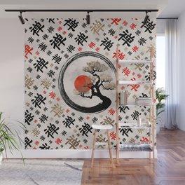 Enso Circle Bonsai Tree on Zen Symbol pattern Wall Mural