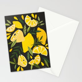 Lemon Blooms – Charcoal Stationery Cards
