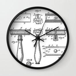 Razor Patent - Barber Art - Black And White Wall Clock