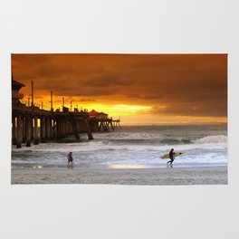 Surfer Sunset H.B. Pier Rug