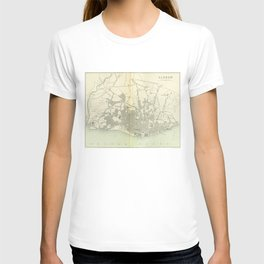 Vintage Map of Lisbon Portugal (1895) T-shirt