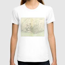 Vintage Map of Lisbon Portugal (1895) T-shirt