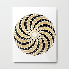 BLACK AND GOLD TORUS circular sacred geometry Metal Print